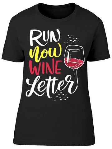 Run Now Wine Later Glass Tee Women's -Image by Shutterstock