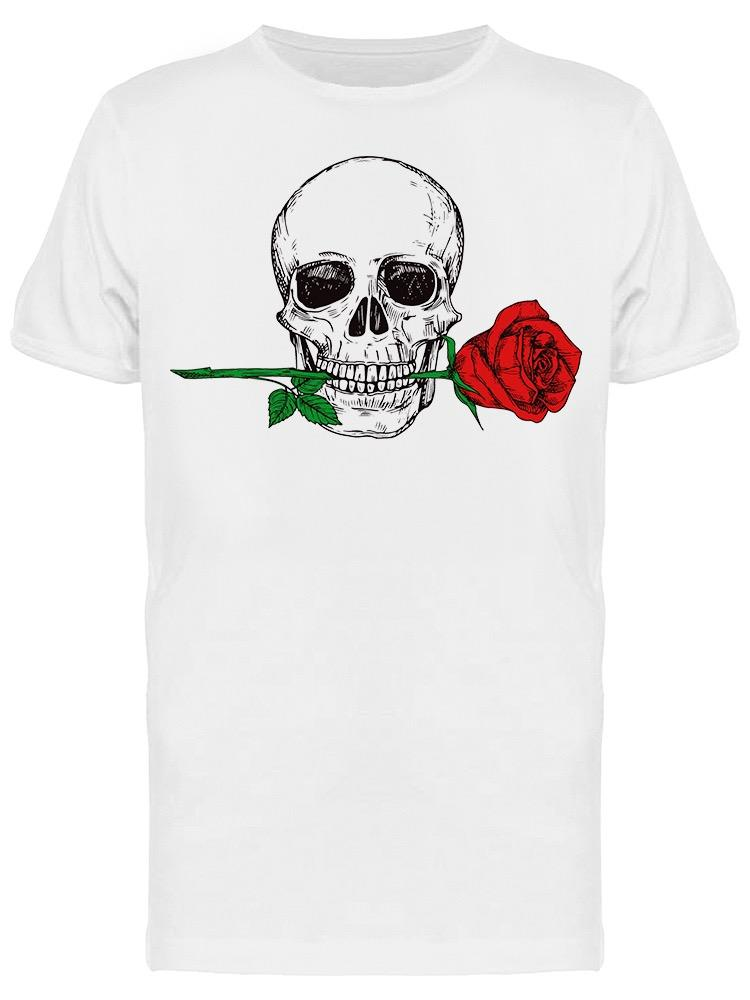 Happy Human Skull With Red Rose Tee Men's -Image by Shutterstock