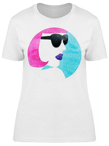 Watercolor Ink Sketch Pink Hair Tee Women's -Image by Shutterstock