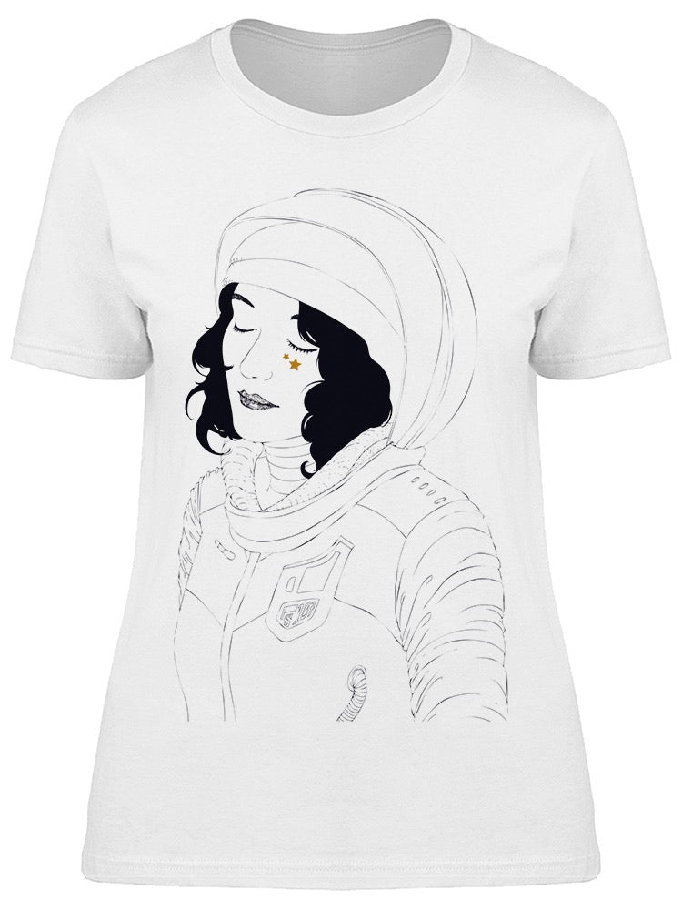 Space Girl With Stars Tee Women's -Image by Shutterstock