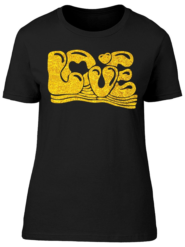 Love Gold Calligraphy Word Tee Women's -Image by Shutterstock