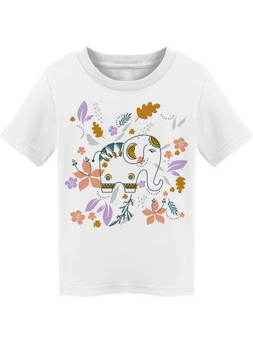 Leaves And Flowers Elephant Tee Toddler's -Image by Shutterstock