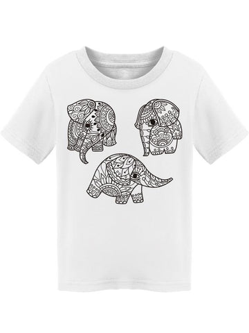 Ornamented Elephants Cool Cute Tee Toddler's -Image by Shutterstock
