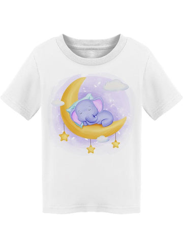 Baby Elephant Sleep On  Moon Tee Toddler's -Image by Shutterstock