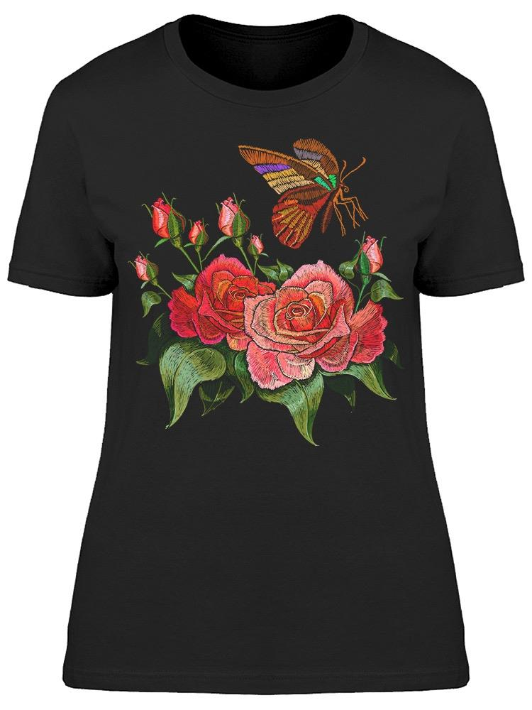 Beautiful Butterfly And Roses Tee Women's -Image by Shutterstock