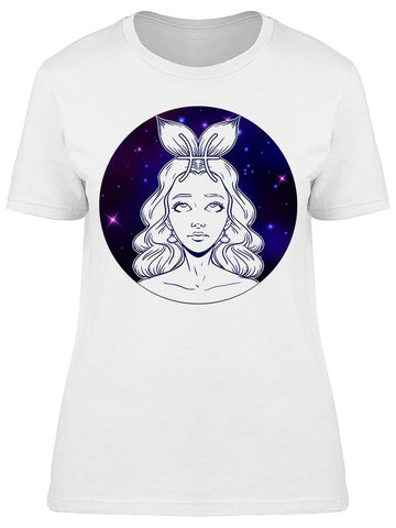 Pisces Zodiac Sign Girl Face   Tee Women's -Image by Shutterstock