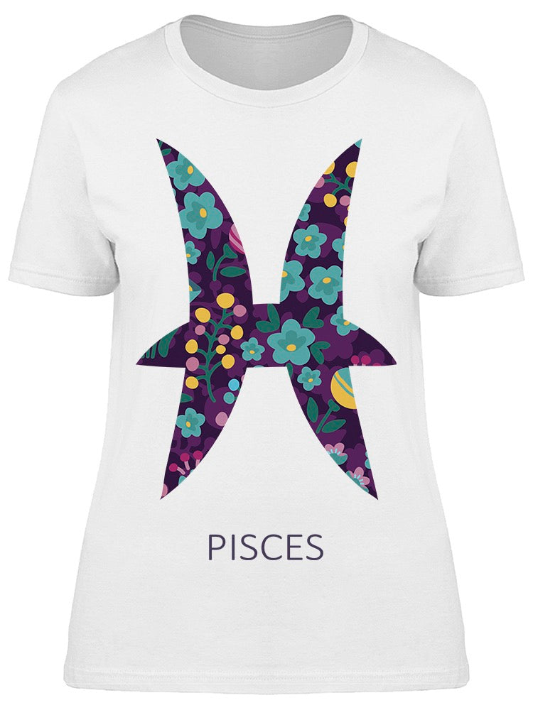 Zodiac Sign Pisces Floral Tee Women's -Image by Shutterstock