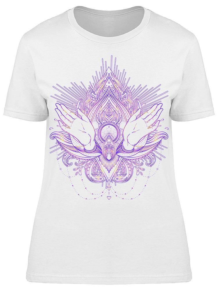 Ornamental Lotus Flower Graphic Tee Women's -Image by Shutterstock