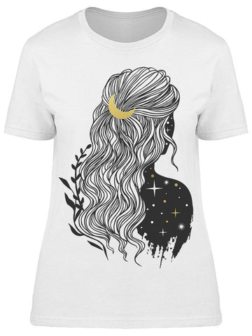 Mysterious Lady With Moon Tee Women's -Image by Shutterstock