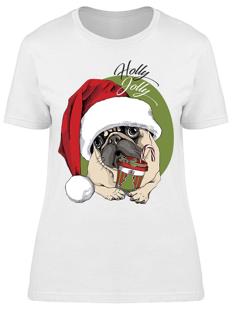 Holly Jolly Pug With Coffee Tee Women's -Image by Shutterstock