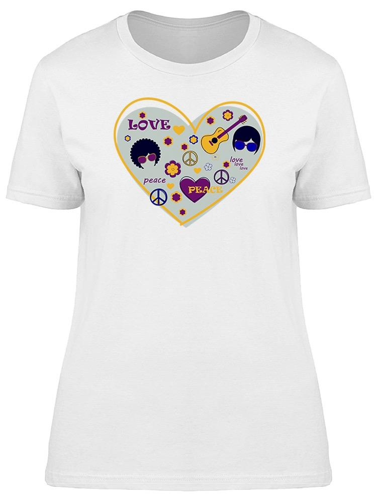 Hippie Heart Icons Tee Women's -Image by Shutterstock