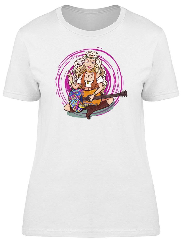 Hippie Girl Playing The Guitar Tee Women's -Image by Shutterstock