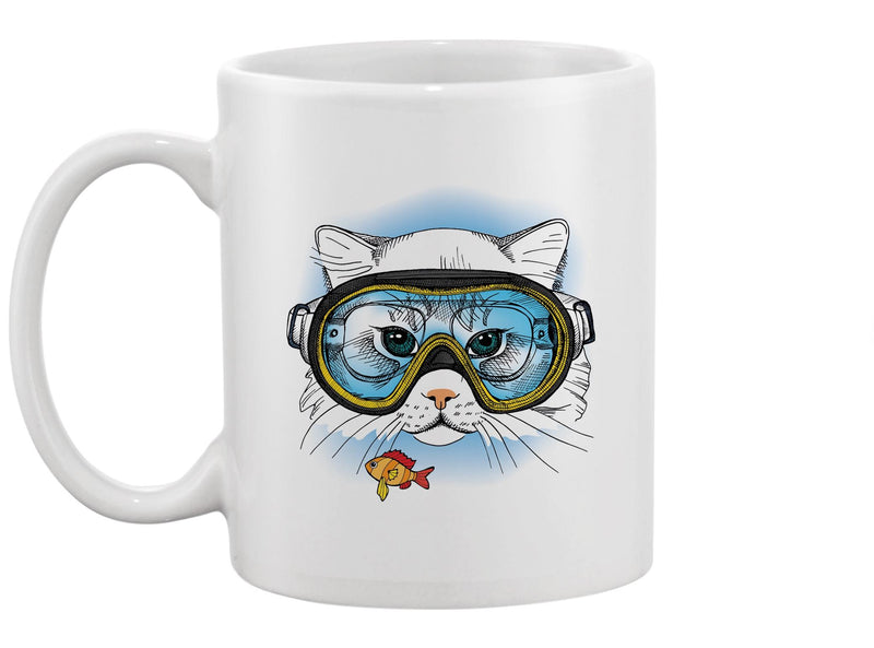 Cat With A Diving Mask Mug -Image by Shutterstock