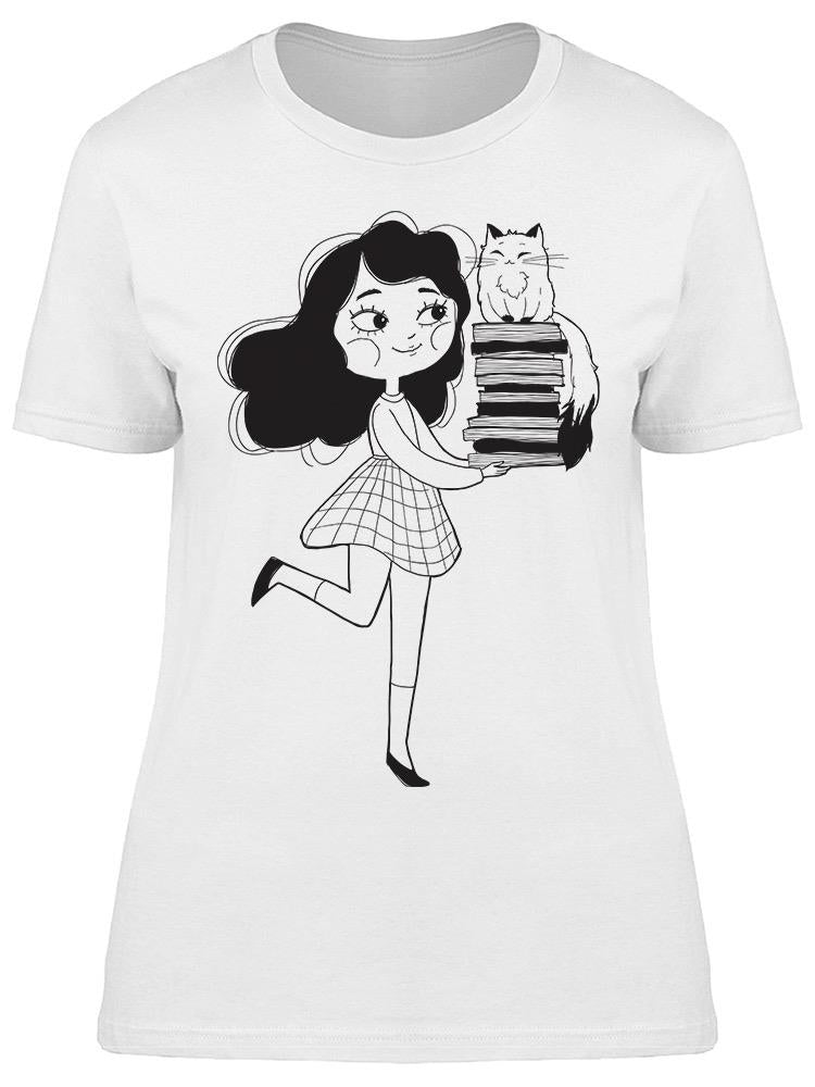 Student Books Cat Smiling Tee Women's -Image by Shutterstock