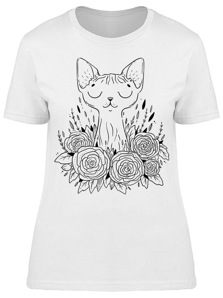 Sphynx Cat Roses Flowers Sketch Tee Women's -Image by Shutterstock