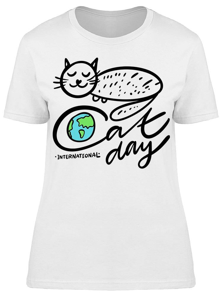 International Cat Day Line Art Tee Women's -Image by Shutterstock