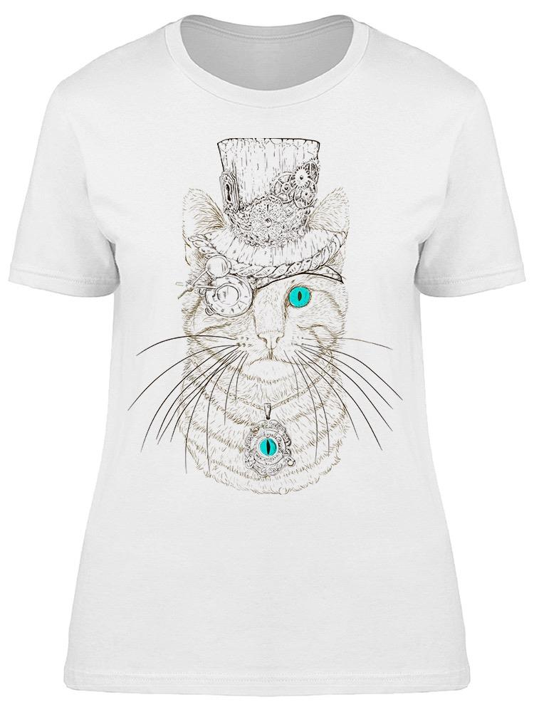 Steampunk Cat Sketch Eyes Tee Women's -Image by Shutterstock