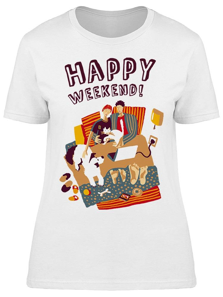 Happy Weekend Gay Couple Dog Tee Women's -Image by Shutterstock