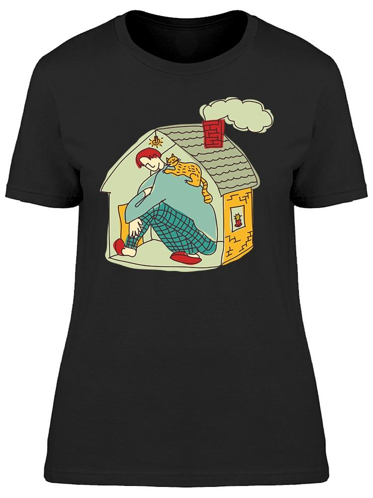 Small Home Cat Boy Doodle Tee Women's -Image by Shutterstock