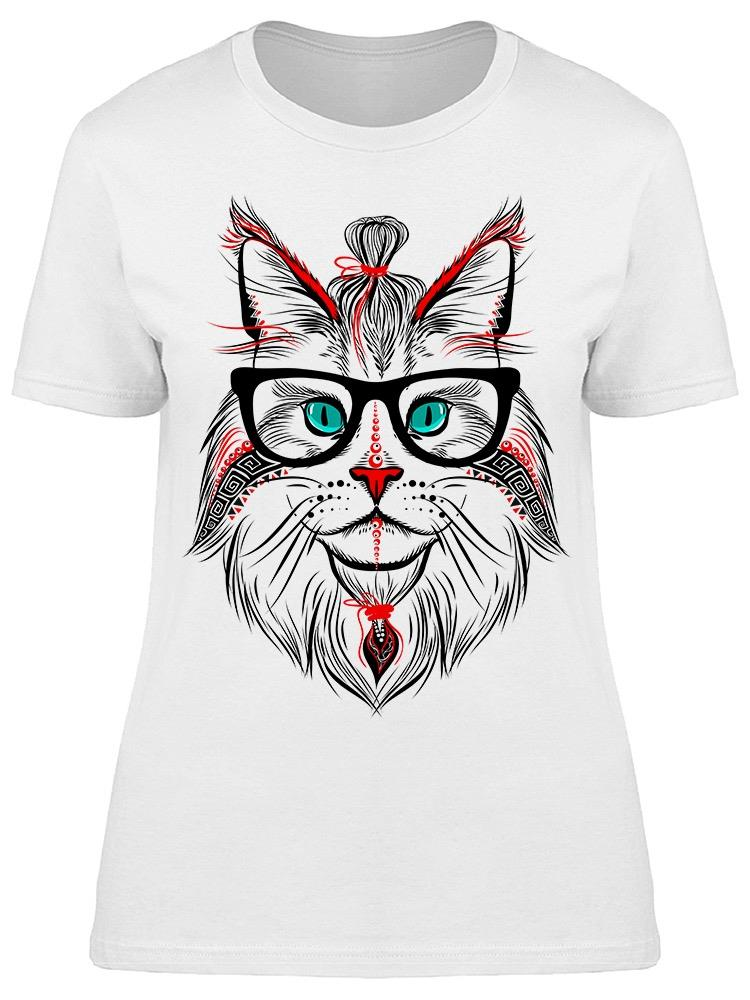 Hipster Cat Design Tee Women's -Image by Shutterstock