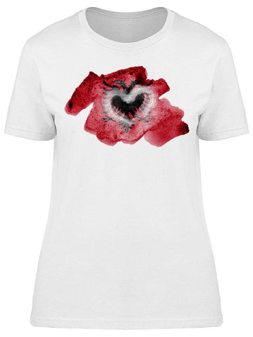 Albania Flag  Watercolor Graphic Tee Women's -Image by Shutterstock