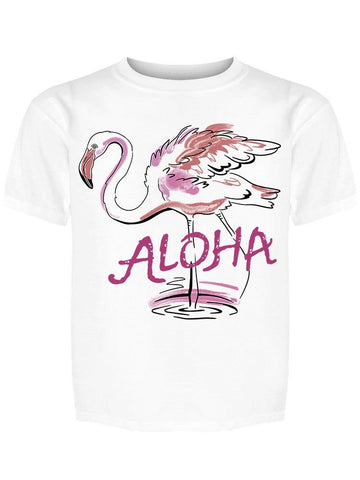 Aloha Pink Flamingo Cute Tee Girl's -Image by Shutterstock