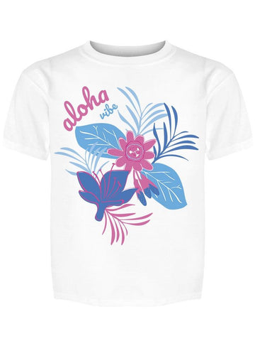 Aloha Vibe Pretty Flowers Colors Tee Girl's -Image by Shutterstock