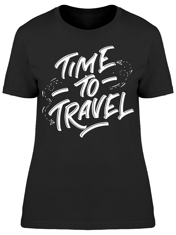 Time To Travel Font Plane Tee Women's -Image by Shutterstock