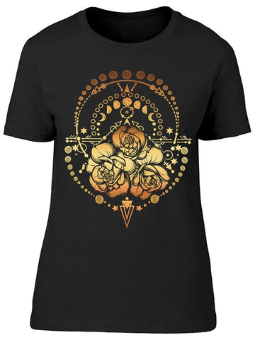 Moon Phases Around Roses Amber Tee Women's -Image by Shutterstock