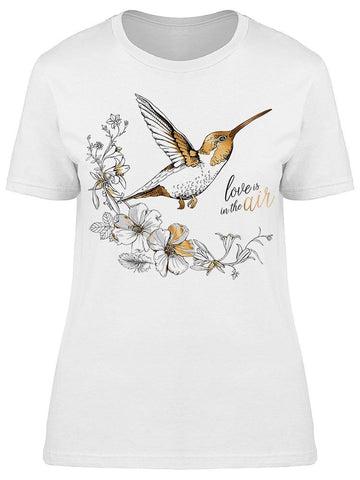Hibiscus Flowers And Hummingbird Tee Women's -Image by Shutterstock