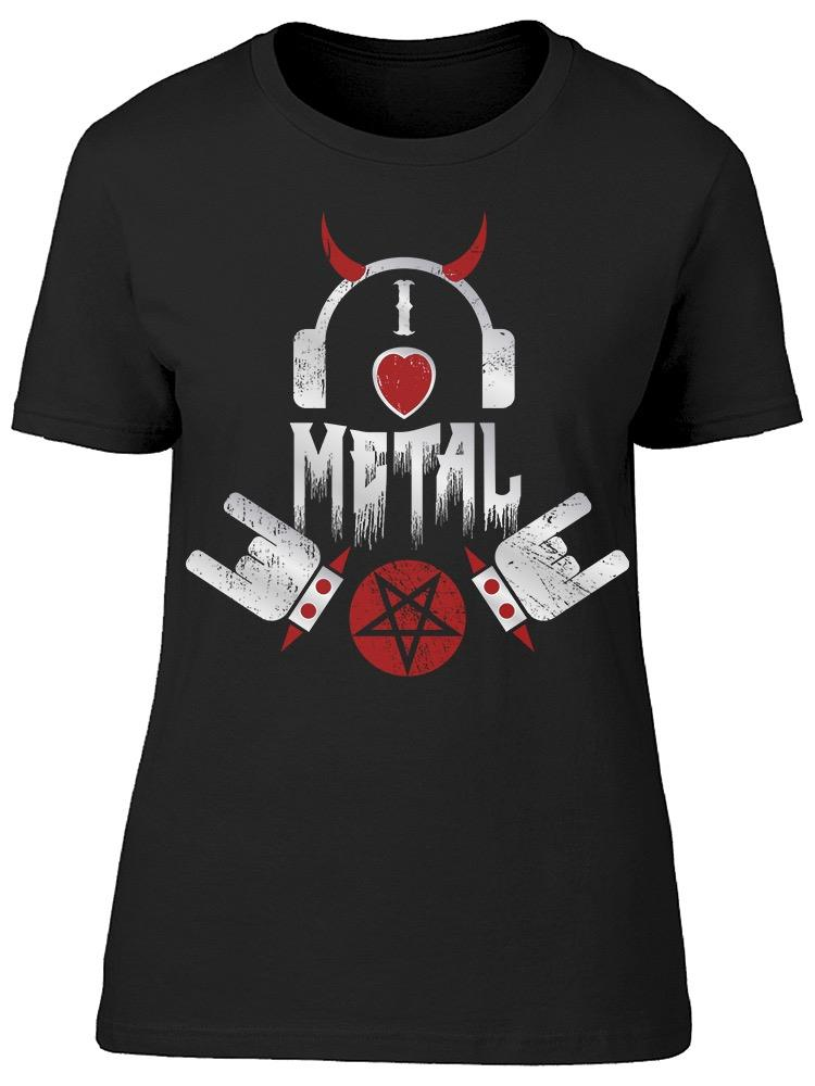 I Love Heavy Metal Headphone Tee Women's -Image by Shutterstock