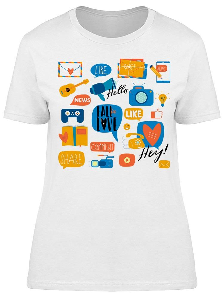 Social Media Sticker Tee Women's -Image by Shutterstock
