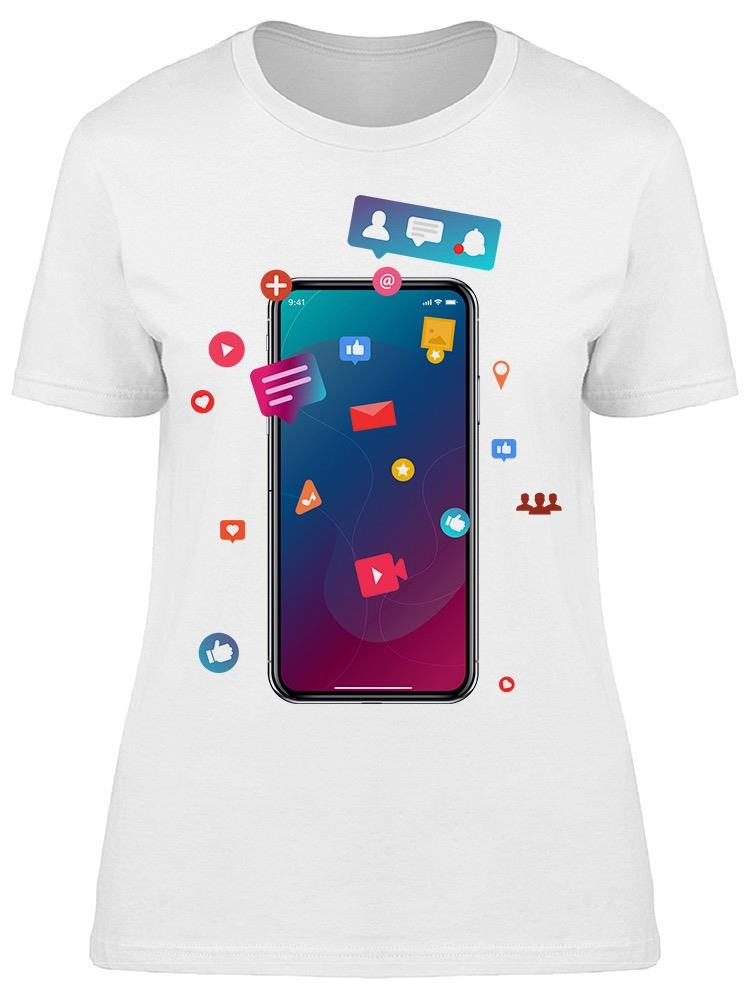 Social Media Phone Doodles. Tee Women's -Image by Shutterstock