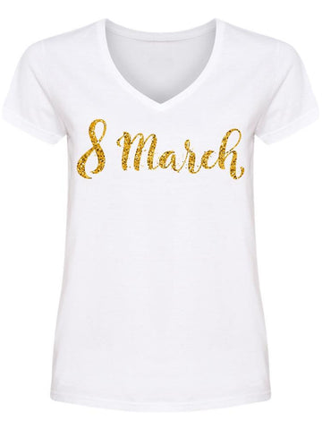 Golden Glitter March 8 Women Day V Neck Women's -Image by Shutterstock