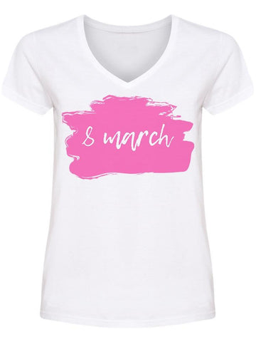 March 8 Brush Stroke Women Day V Neck Women's -Image by Shutterstock