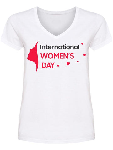 International Women Day Hearts  V Neck Women's -Image by Shutterstock