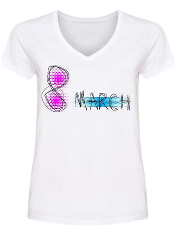 March 8 Blue/purple Women Day V Neck Women's -Image by Shutterstock