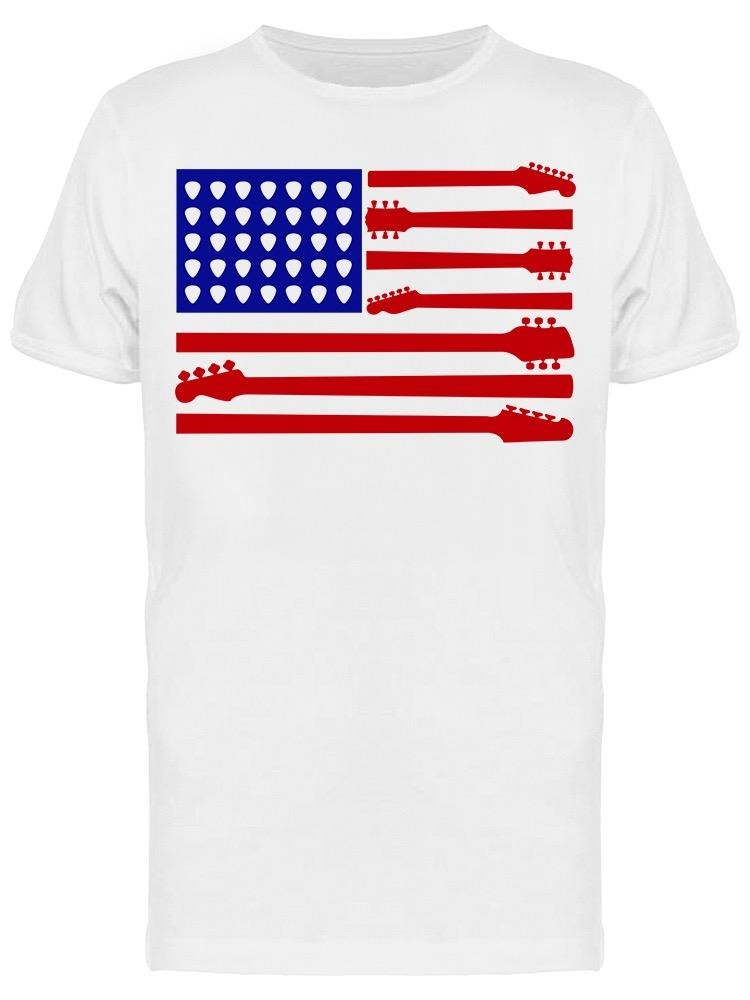 American Flag Guitar Parts Tee Men's -Image by Shutterstock