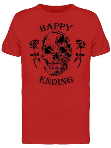 """happy Ending"" Skull With Roses Tee Men's -Image by Shutterstock"