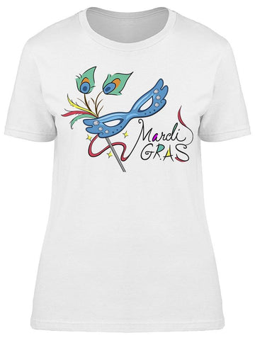 Mardi Gras Mask With Ribbon Tee Women's -Image by Shutterstock