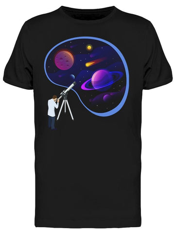 Astronomer Looking Telescope Tee Men's -Image by Shutterstock