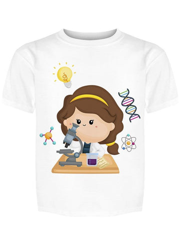 Cartoon Girls With Microscope Tee Girl's -Image by Shutterstock