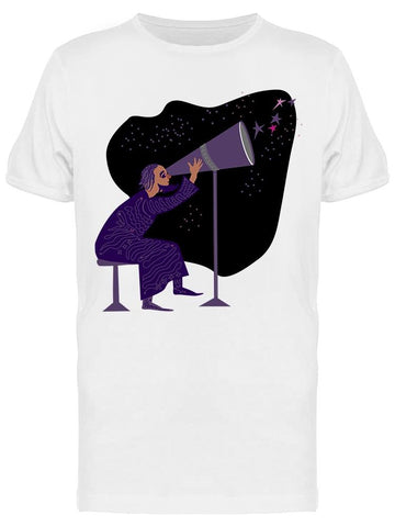 Man, Looking Trough Telescope Tee Men's -Image by Shutterstock