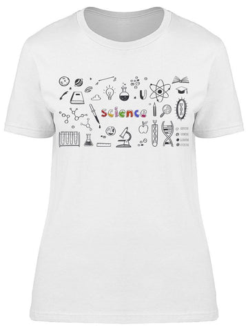 Colorful Text:science W/objects Tee Women's -Image by Shutterstock