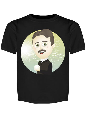 Scientist Nikola Tesla, Cartoon Tee Boy's -Image by Shutterstock