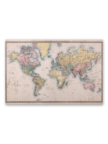 1860 World Map Hand-colored Poster -Image by Shutterstock