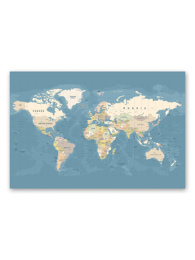 High Detail On World Map Poster -Image by Shutterstock
