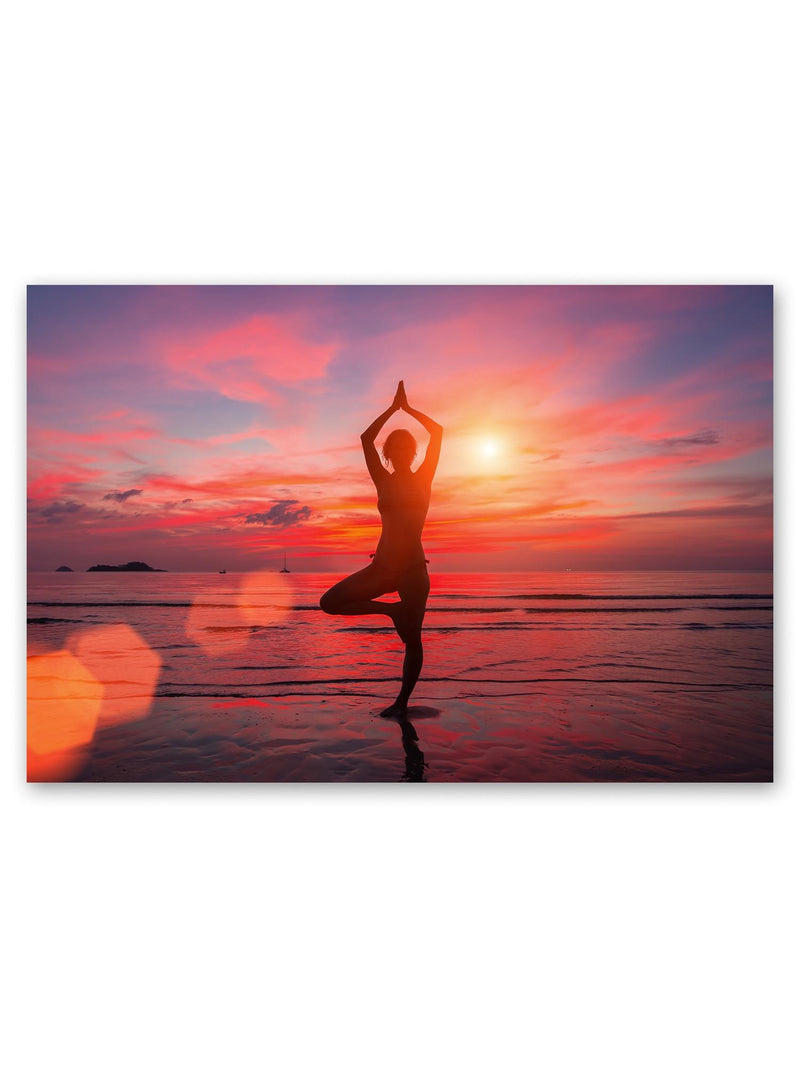 Meditating Girl Near The Sea Poster -Image by Shutterstock