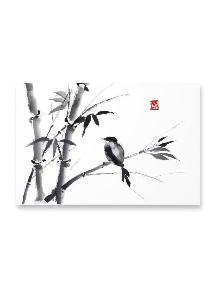 Bird On Bamboo Branch In Ink Poster -Image by Shutterstock