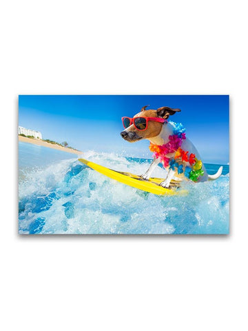 Cool Dog Surfing Wave Poster -Image by Shutterstock